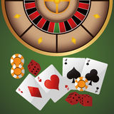 Cards chips dice casino icon. Cards chips dice casino las vegas game icon. Colorfull illustration. Vector graphic stock illustration