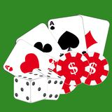 Cards, chips and dice on green background. Vector illustration royalty free illustration