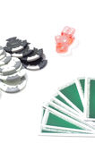 Cards chips dice Royalty Free Stock Images