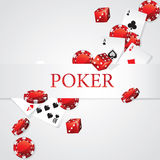 Cards Chips Dice Poker. Flying Cards Chips Dice Poker stock illustration