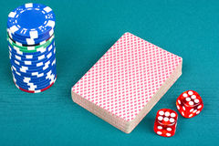 Cards, chips and dices Stock Photos