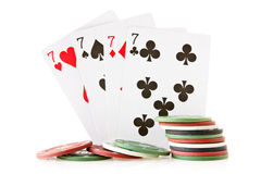 Cards and chips for poker Royalty Free Stock Photos