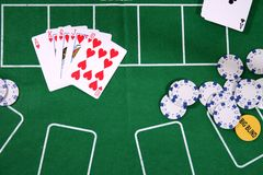 Cards and Chips for poker royalty free stock images