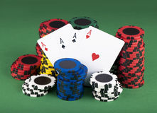 Cards and chips for poker Royalty Free Stock Photography