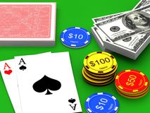 Cards and chips for poker Stock Photo