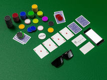 Cards and chips for poker on green table Royalty Free Stock Photography