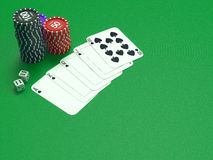 Cards and chips for poker on green table Royalty Free Stock Images