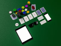 Cards and chips for poker on green table Stock Photo