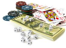 Cards and chips for poker playing Royalty Free Stock Images