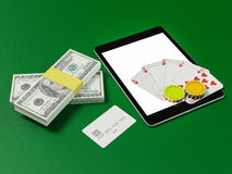Cards and chips for poker on tablet. Stock Images