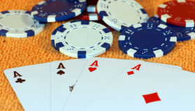 Cards and chips to play. Royalty Free Stock Images