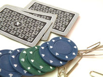 Cards and chips to play poke Royalty Free Stock Photography