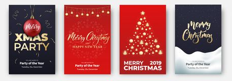 cards christmas drawing modeling plasticine Σχεδιαγράμματα σχεδίου για τα εύθυμα Χριστούγεννα Αφίσες με τη γιρλάντα, τη σφαίρα, ά διανυσματική απεικόνιση