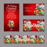 Cards with Christmas gift boxes for your business Royalty Free Stock Photography
