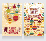 Cards for christmas and new year party, christmas balls ornament Royalty Free Stock Image
