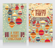 Cards for christmas and new year party, christmas balls ornament Royalty Free Stock Photography