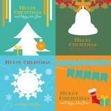 Cards with christmas symbols. With bell, fir-tree, snowflakes, holly and gifts Royalty Free Stock Images