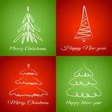 Cards with christmas trees Royalty Free Stock Image
