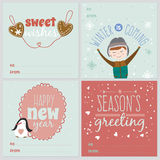 Cards with Christmas typographic and elements. Set of square greeting cards with Christmas and New Year Calligraphic And Typographic Background. Greeting stylish Royalty Free Stock Photography