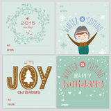Cards with Christmas typographic and elements. Set of square greeting cards with Christmas and New Year Calligraphic And Typographic Background. Greeting stylish Stock Images