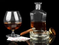 Cards, cigar and whisky Royalty Free Stock Photos
