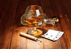 Cards, cigar and whisky Stock Images