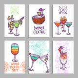 Cards With Cocktails Royalty Free Stock Photography