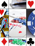Cards Collage. An arrangement of a series of photos related to cards, poker and gambling royalty free stock photo