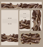 Cards Collection With Abstract Chocolate Waves Pattern Stock Photography