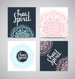 Cards collection, floral pattern. Vector background with lettering - free spirit . Card or invitation. Stock Images