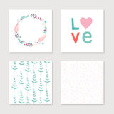 Cards collection for valentines day, birthday, save the date inv Royalty Free Stock Photo