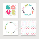Cards collection for valentines day, birthday Royalty Free Stock Image