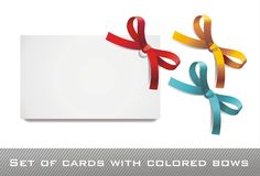 Cards with colored bows Stock Photos