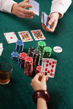 Cards, colorful poker chips and alcohol Royalty Free Stock Images