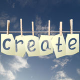 Cards with create. Paper cards with create hanging on rope Royalty Free Stock Images
