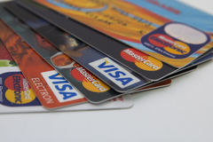 Cards. Credit cards as fun isolated stock photos