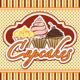 Cards with cupcakes. Ideal for posters, advertisements, announcements, labels, banner, menu for cafe and restaurants. Vector illustration Stock Photos