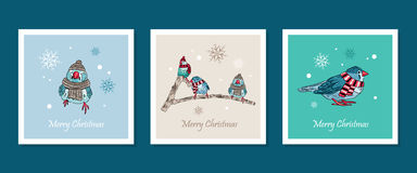 cards with cute birds warm dressed in winter season Stock Photos
