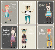 Cards with cute fashion animals set in scandinavian style. Royalty Free Stock Image