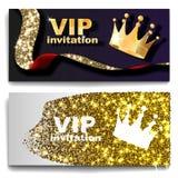 Cards den högvärdiga inbjudan för storgubben affischreklamblad Svart och guld- designmalluppsättning Royaltyfria Bilder