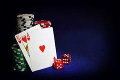 cards den leka poker Arkivbilder