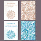 Cards design set. Mandala and doodle background. Decorative elements for poster, invitation. Oriental templates with place for tex Stock Image