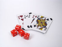 Cards and Dice. Photo of Cards and Dice royalty free stock photo