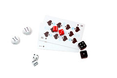 Cards and dice. Close up of cards and dice on white background Royalty Free Stock Images