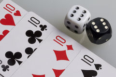Cards and dice. Accessories for the game Royalty Free Stock Photo