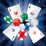 Cards dice chips Stock Images