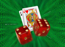 Cards & dice flying by walls of binary code Royalty Free Stock Image