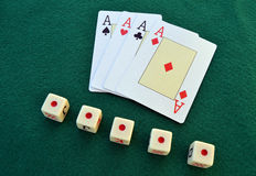 Cards and dice Royalty Free Stock Photography