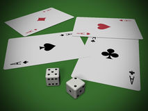 Cards and dices Royalty Free Stock Images