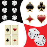 Cards and dices. Background, black red Royalty Free Stock Images